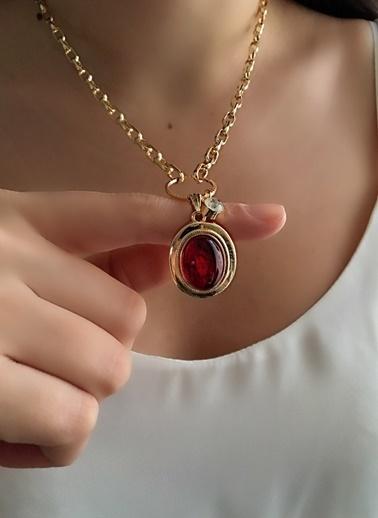 My Joyas Design Kırmızı Firuze Kolye Altın
